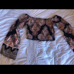 Smocked crop top with flowy sleeves